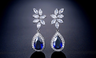 Blue CZ Crystal Leaf Design Teardrop Wedding Earrings