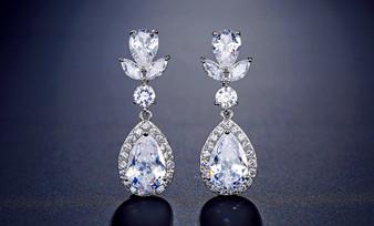 Gorgeous Teardrop CZ Wedding Earrings in Silver