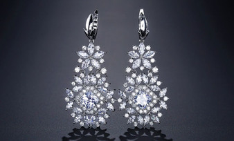 CZ Crystal Cluster Wedding Earrings - Silver, Gold, Rose Gold