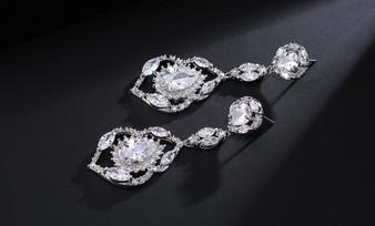 Stunning CZ Crystal Teardrop Wedding Earrings - Clear, Blue, Green