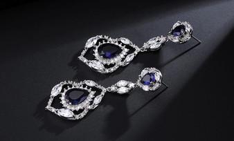 Stunning Blue Sapphire CZ Crystal Teardrop Wedding Earrings