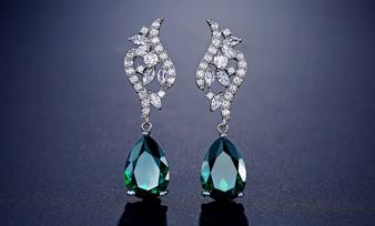 5 Pairs Stunning Green Emerald CZ Crystal Teardrop Wedding Earrings