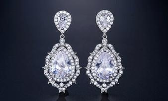 Glamorous CZ Crystal Bridal Earrings - Silver, Rose Gold