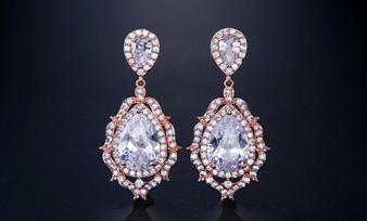Glamorous CZ Crystal Bridal Earrings in Rose Gold