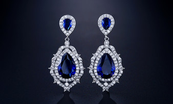 Blue Sapphire CZ Crystal Bridal Earrings