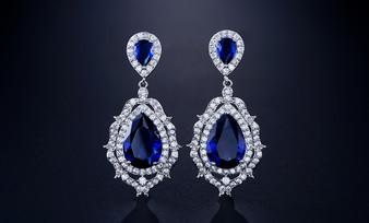 Blue Sapphire CZ Crystal Bridal Earrings