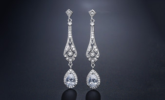 CZ Crystal Teardrop Bridal and Prom Earrings - Silver, Rose Gold