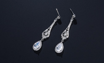 Teardrop CZ Crystal Bridal and Prom Earrings - Silver, Rose Gold