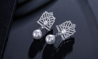 Exquisite CZ Crystal and  Pearl Bridal Earrings