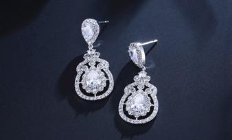 Clear CZ Crystal Drop Wedding Earrings - Silver, Rose Gold