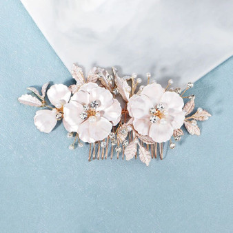 Delicate Pearl Crystal Wedding Hair Comb