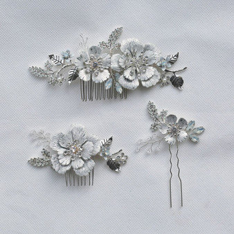 Flower Vine and Crystal Wedding Hair Comb Pin in Silver Set of 3