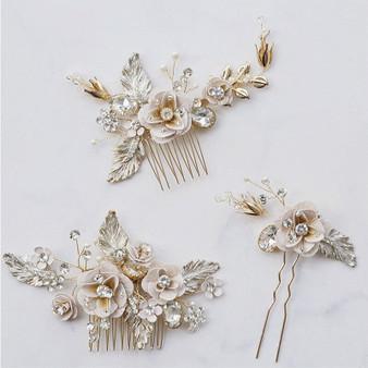Floral Pearl and Rhinestone Bridal Hair Comb Pin Set of 3