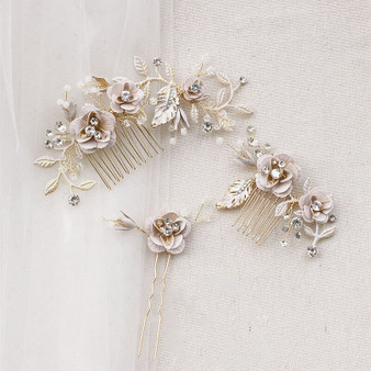 Gold Plated Pearl and Crystal Couture Bridal Comb Pin 3 Piece Set