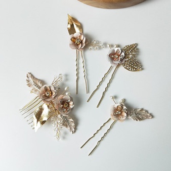 Elegant Flower Gold Bridal Hair Comb Pin 4 Piece set