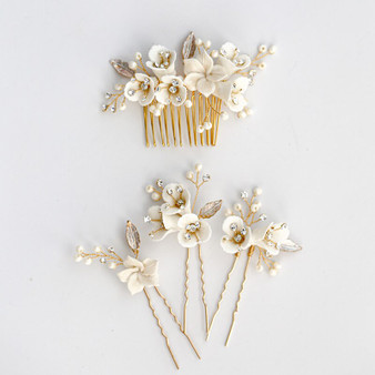 Floral Rhinestone & Pearl Wedding Hair Comb and Pins 4 Piece Set Gold