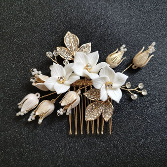 Gold Rhinestone & Pearl Wedding Hair Comb with Porcelain Flowers