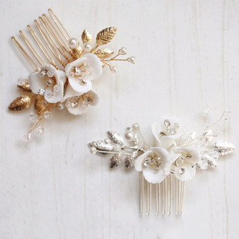 Delicate Bridal Floral Hair Comb with Flowers Gold or Silver