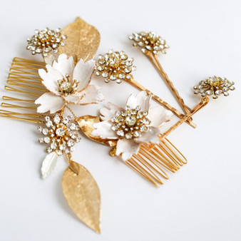 Exquisite Gold Wedding Combs & Pins with Flowers 5 Piece Set in Gold