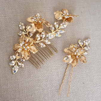 Floral Vine Rhinestone Wedding Hair Comb & Pin 2 Piece Set Gold