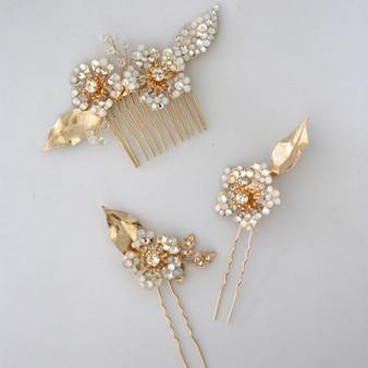 Rhinestone Flower Bridal Comb & Pins with Crystals 3 Piece Set