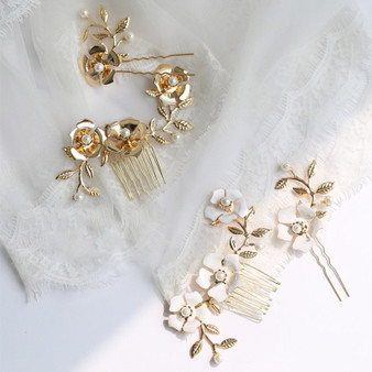 Bridal Comb & Pin with Gold Flowers 2 Piece Set