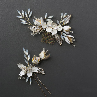 Gold Floral Rhinestone & Crystal Wedding Comb Pin 2 Piece Set