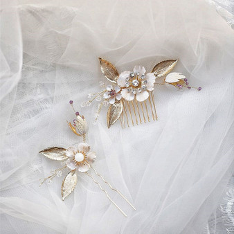 Gold Wedding Hair Comb Pin with Flowers 2 Piece Set