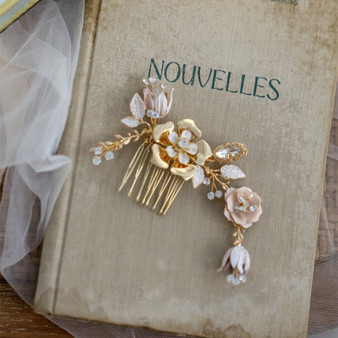 Gold Rhinestone Wedding Hair Comb with Enameled Flowers