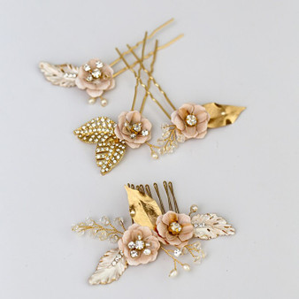 Gold  Vine Crystal Bridal Hair Comb Pins 4 Piece Set