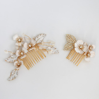 Gold Rhinestone Bridal Hair Comb with Flowers 2 Piece Set