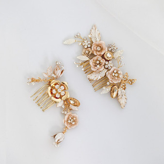 Gold Rhinestone and Pearl Floral Wedding Combs 2 Piece Set