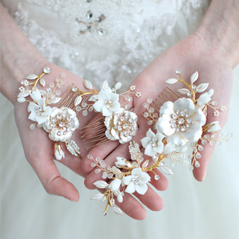 Chic Gold Plated Floral Bridal Combs 3 Piece Set