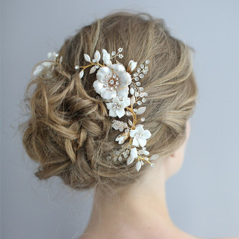 Elegant Gold Plated Floral Bridal Comb with Beads & Rhinestones