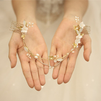 Romantic Back Headpiece Wedding Hair Comb with Porcelain Flowers