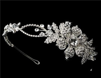 Couture Side Accented Flower Headpiece Swarovski Rhinestones & Crystals WT9853