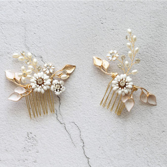 Couture Gold Plated Floral Bridal Hair Combs 2 Piece Set