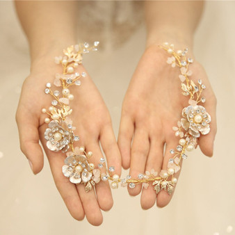 Gold Plated Rhinestone & Pearl Hand Wired Floral Wedding Hair Vine