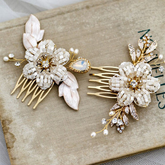 Floral Wedding Hair Combs with Beaded Flowers 2 Piece Set