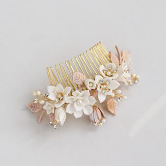 Floral Vine Design Wedding Hair Comb with Ceramic Flowers