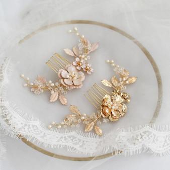 Elegant Pearl and Crystal Floral Leaf Design Wedding Hair Comb