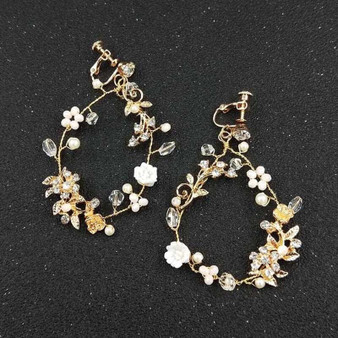 Beautiful Gold Pearl and Rhinestone Wedding Floral Earrings