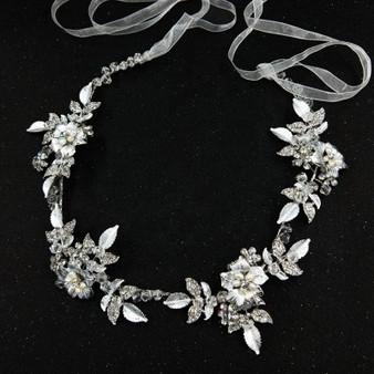 Silver Handmade Bridal Hair Vine with Flowers
