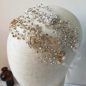 Gold or Silver Vine Bridal Headpiece with Rhinestones and Crystals