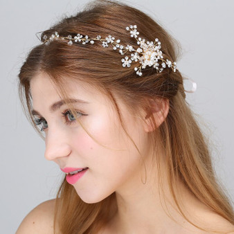 Gold or Silver Wedding Hair Vine with Lavish Rhinestone Sprays