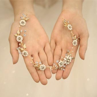 Gold Plated Leaf & Flower Bridal Hair Vine with Rhinestones