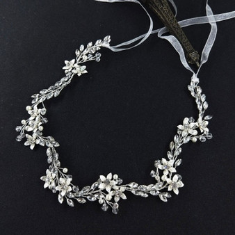 Chic Bridal Floral Hair Vine with Silver Flowers
