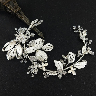 Dazzling Silver Wedding Hair Vine with Lavish Leaves Details