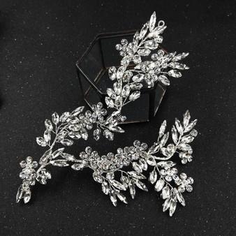 Glamorous Wedding Hair Vine with Rhinestone Leaves and Flowers