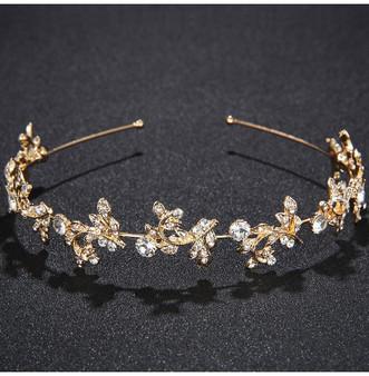 Stunning Rhinestone Floral Vine Wedding Headband Tiara